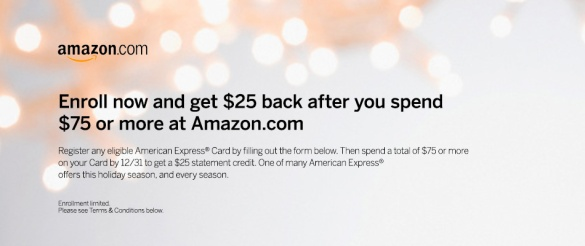 American Express Amex $25 credit for $75 spend on Amazon